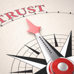 Give Directions: Compass pointing to the word Trust